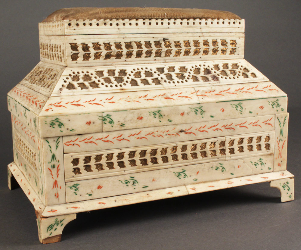 Lot 545: Russian carved walrus ivory sewing box