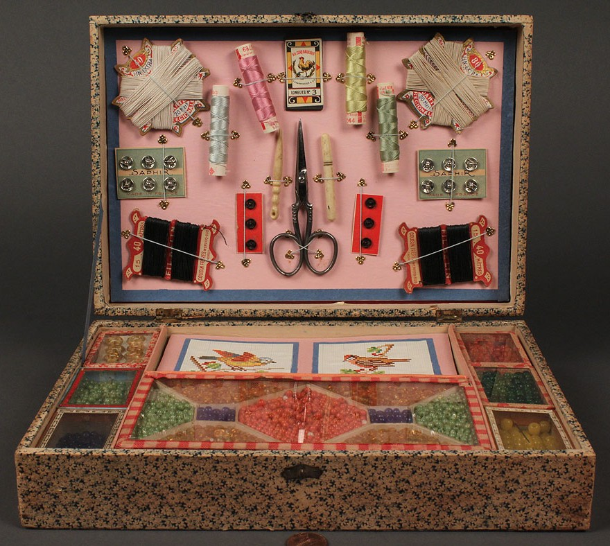 """Lot 546: """"Lady's Companion"""" & French Perles sewing kit"""