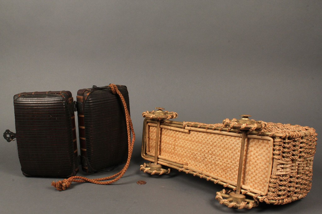 Lot 549: Two antique wicker sewing boxes
