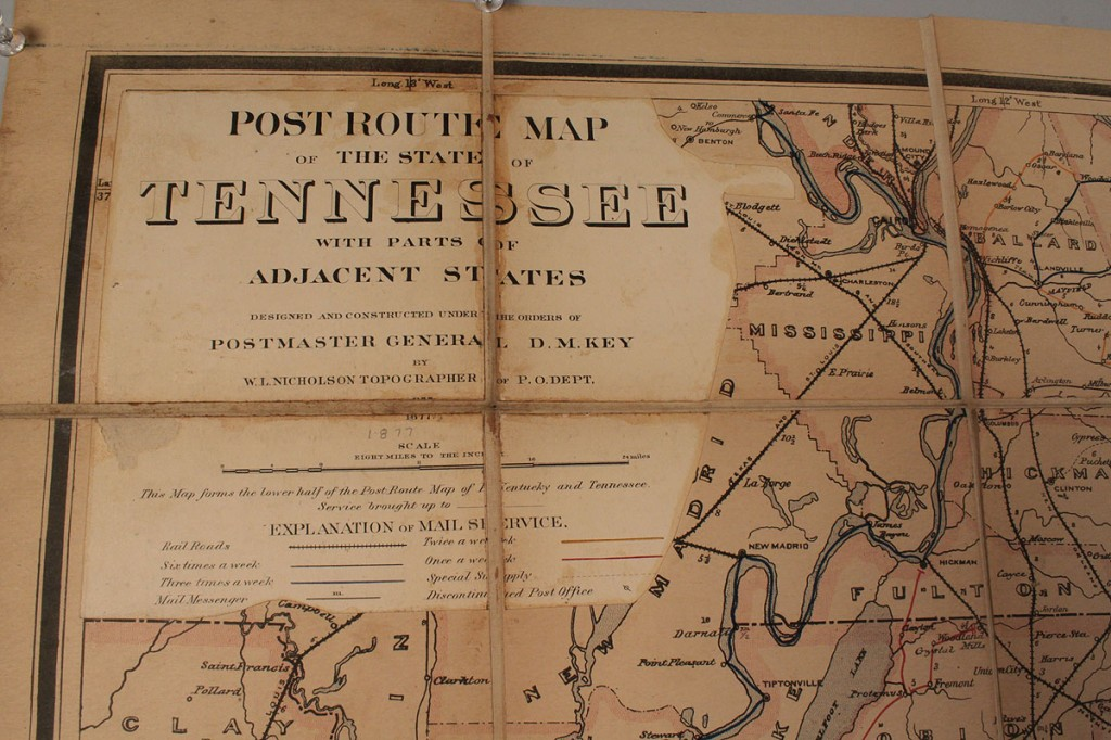 Auctions In Alabama >> Lot 54: Folding Postal Route map of Tennessee, 1877
