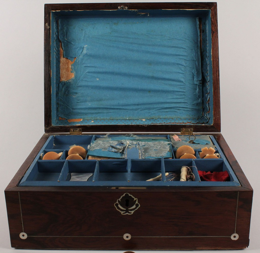 Lot 550: Victorian inlaid rosewood sewing box