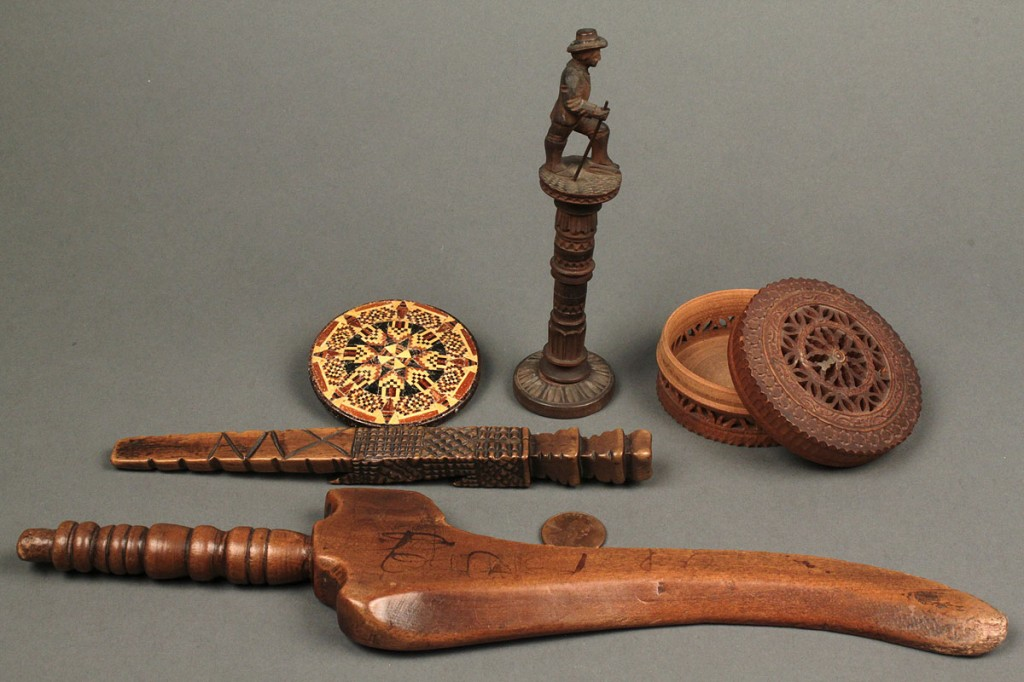 Lot 551: Five wooden sewing implements