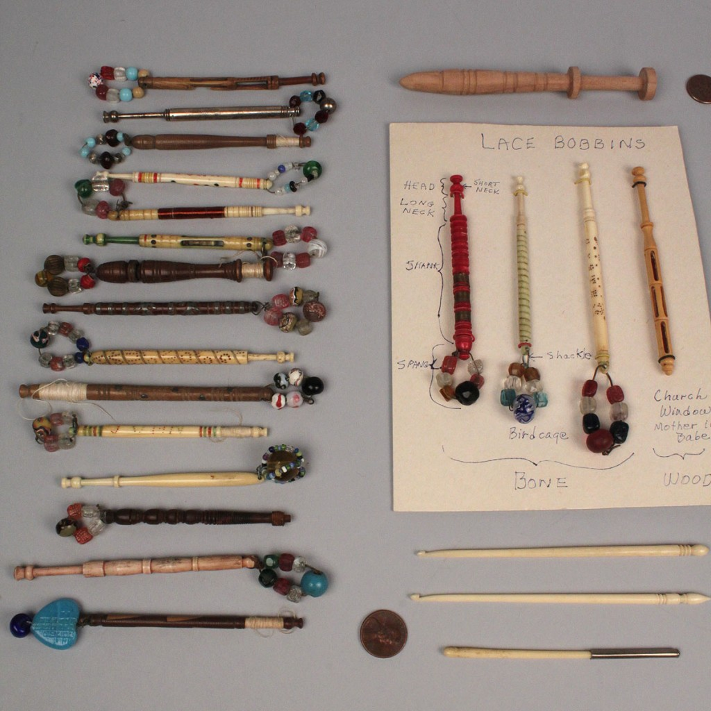 Lot 553: Collection of lacemaking bobbins, 37 pieces