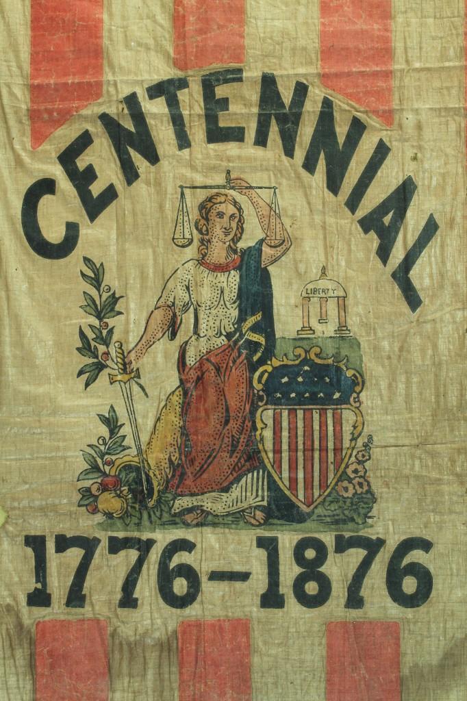 Lot 55: Framed U.S. Centennial Flag