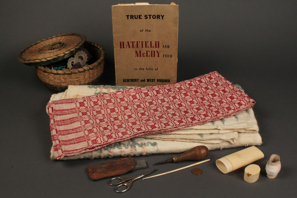 Lot 565: Lot of textiles, sewing items & Hatfield & McCoy book