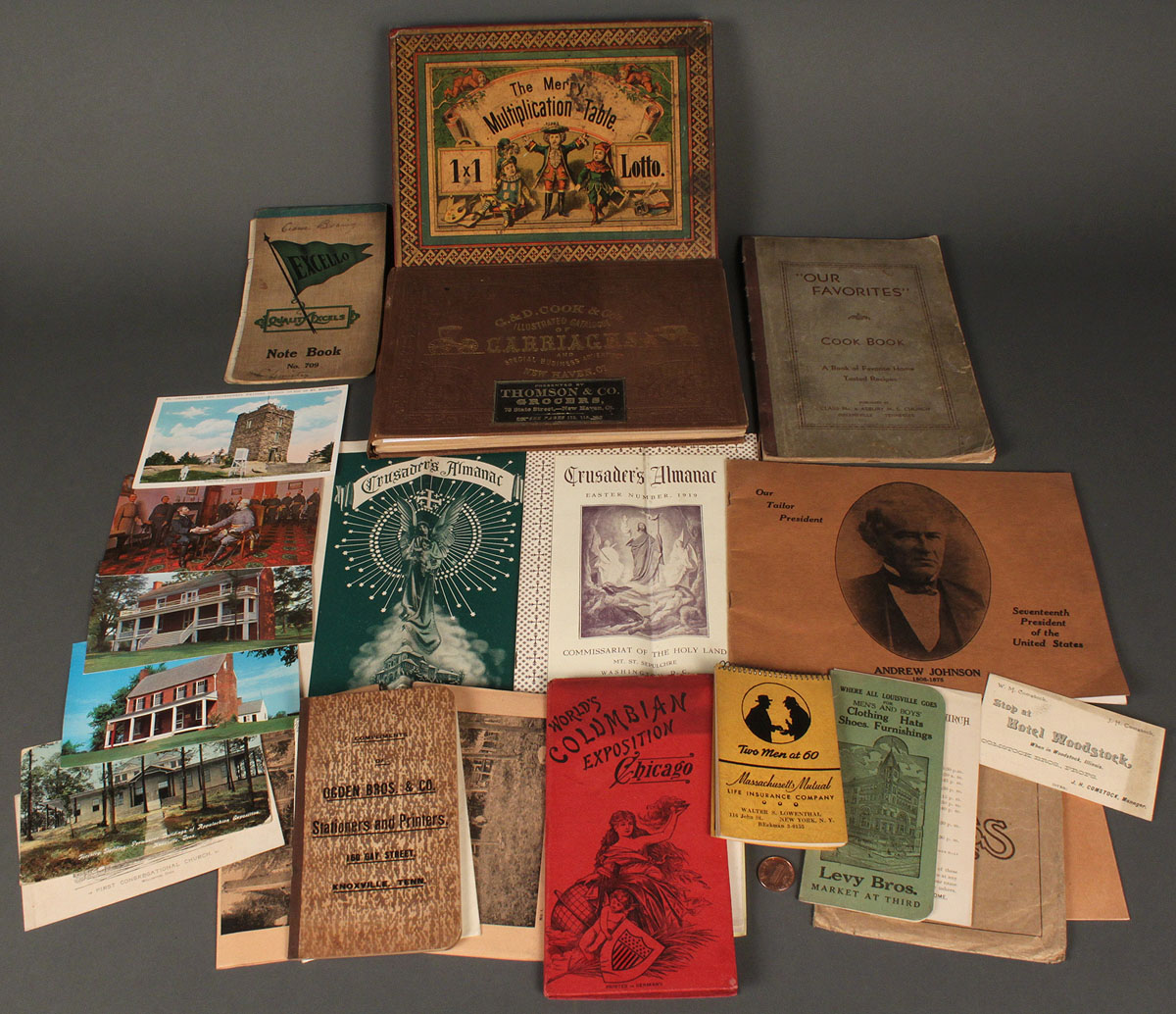 Lot 568: 1860 Carriage Trade Catalog w/ misc lot of ...