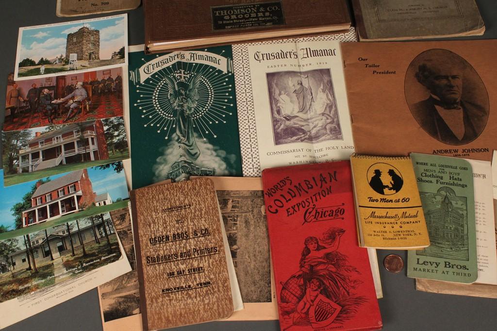 Lot 568: 1860 Carriage Trade Catalog w/ misc lot of historical ephemera