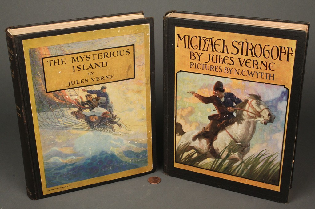 Lot 569: Lot of 2 Books by Jules Verne, Illus. by N.C. Wyeth