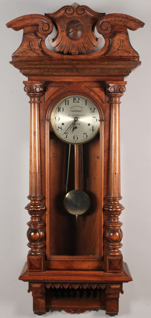 Lot 572: Westminster Chime Wall Clock