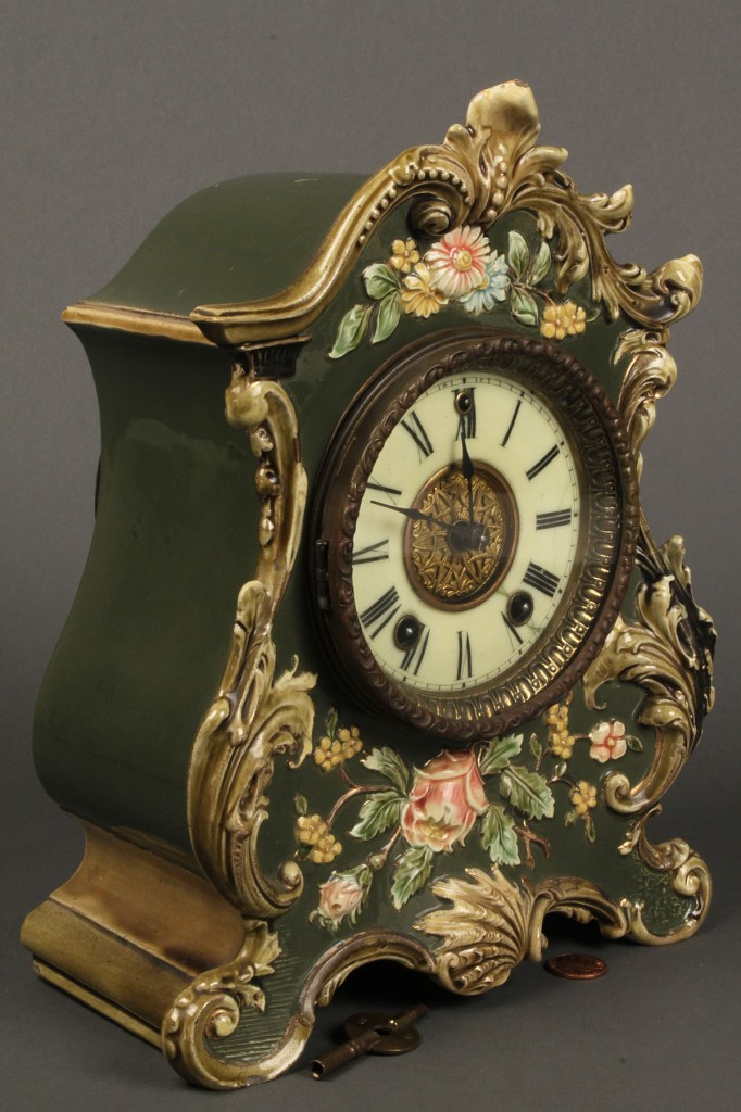 Lot 576:  Gilbert Clock Co. Porcelain Mantle Clock