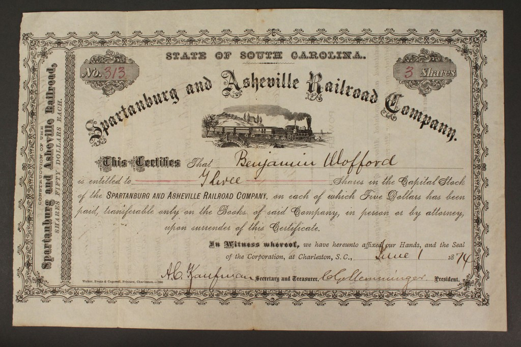 Lot 579:  Railroad Stock Certificate, South Carolina, 1874