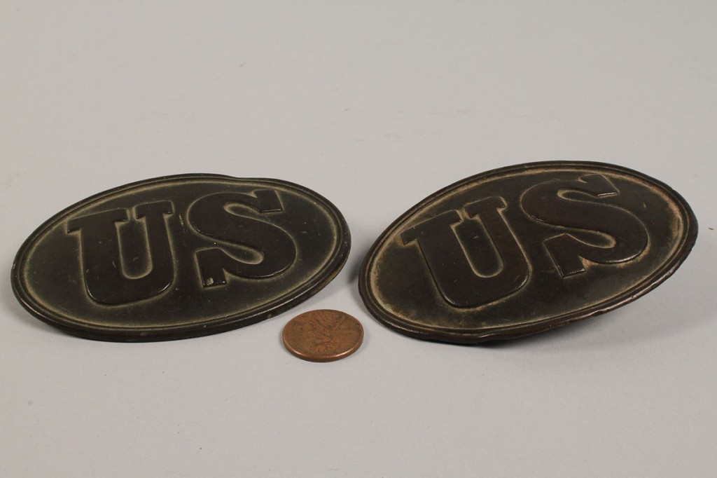 Lot 57: Five Civil War Items including US buckles and breastplate