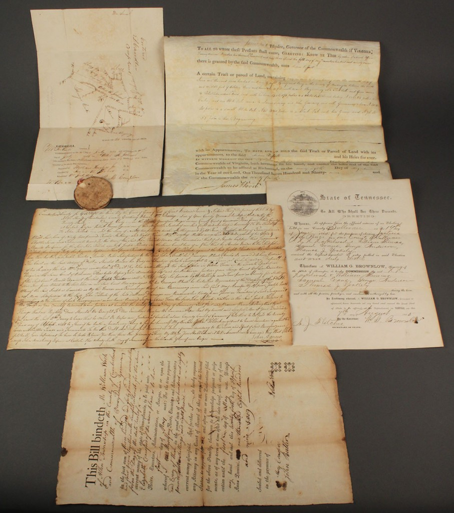 Lot 582: Lot of 5 documents inc. TN, signed Gov. Brownlow