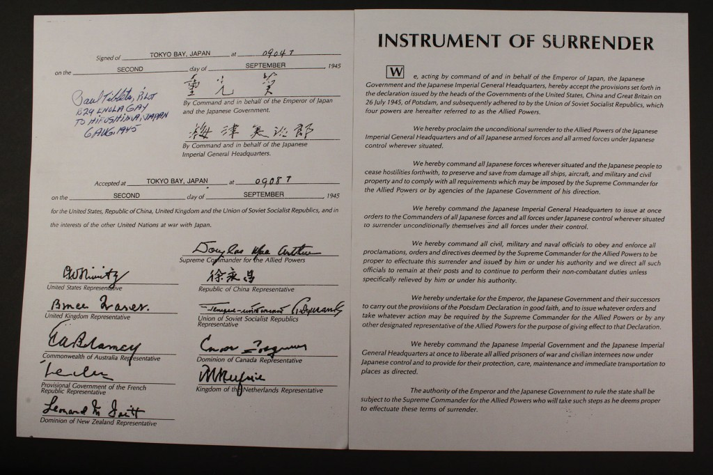 Lot 583: Paul Tibbets signed copy, The Japanese Instrument of Surrender