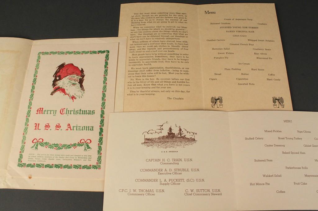 Lot 584: Lot of 3 WWII Ship Menus inc USS Arizona