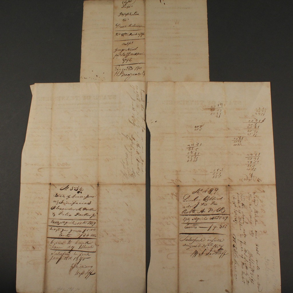 Lot 587: 3 early TN documents, Knox & Gibson counties