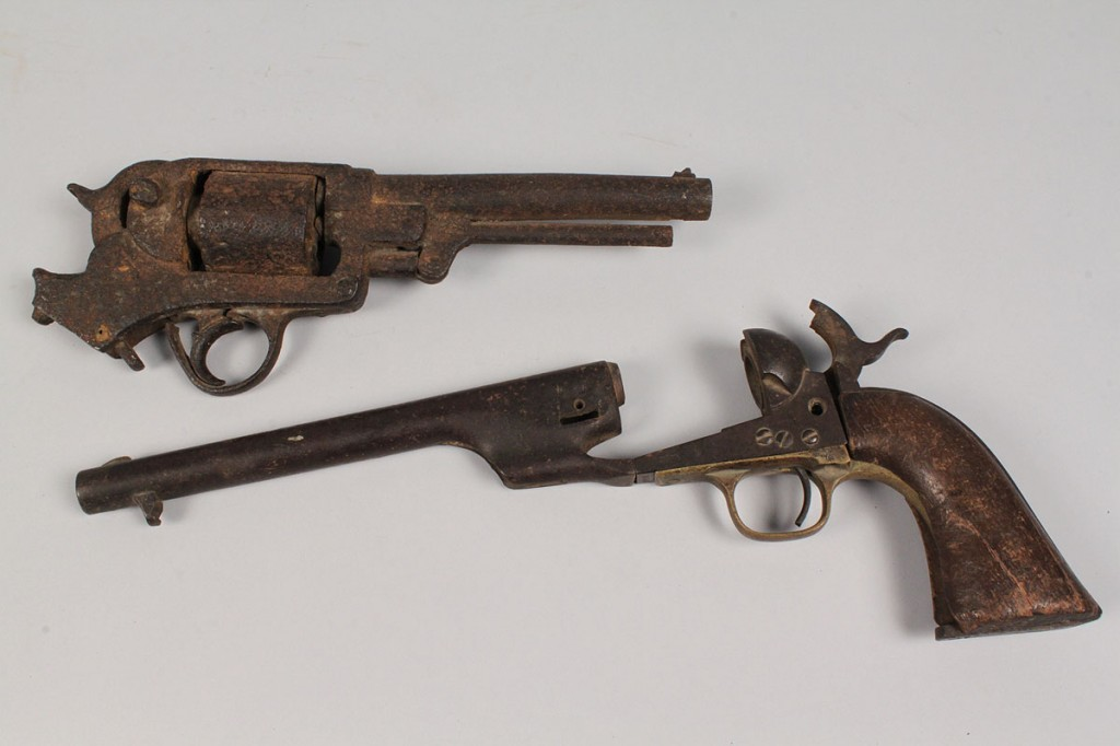 Lot 58: Lot of 2 Partial Civil War Excavated Revolvers, site found