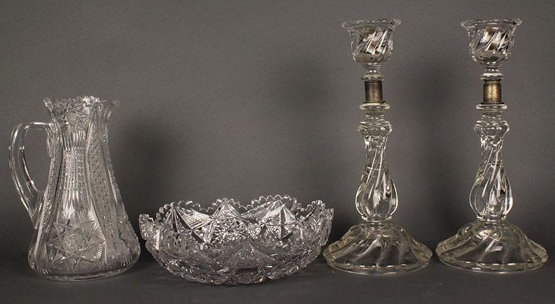 Lot 596: ABP Cut glass pitcher & nappy, plus candlesticks