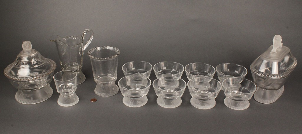 Lot 598: Ass'd Lot of American Pressed Glass, Lion's Head, (13 pcs)
