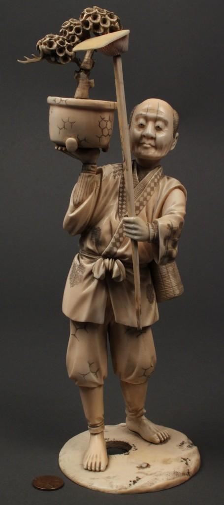 Lot 5: Large carved ivory figure, Bonsai gardener
