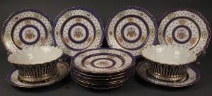 Lot 604:  French Porcelain Plates & Cachepots, 14 pcs