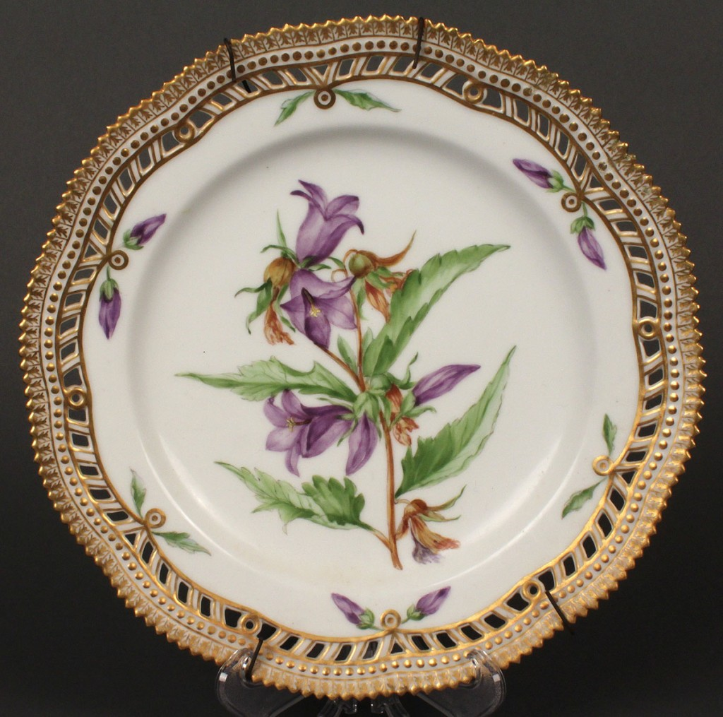 Lot 605: Royal Copenhagen Flora Danica Plate, Bellflower