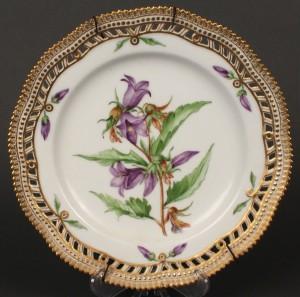 Lot 605: Royal Copenhagen Flora Danica Plate, Bellflower