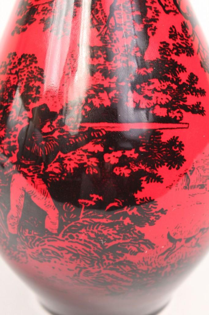 Lot 608: Royal Doulton Flambe Woodcut Vase & Porcelain Plaque