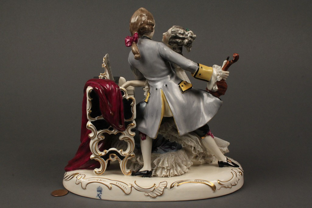 Lot 614: Dresden Porcelain Lace Figurine, music scene