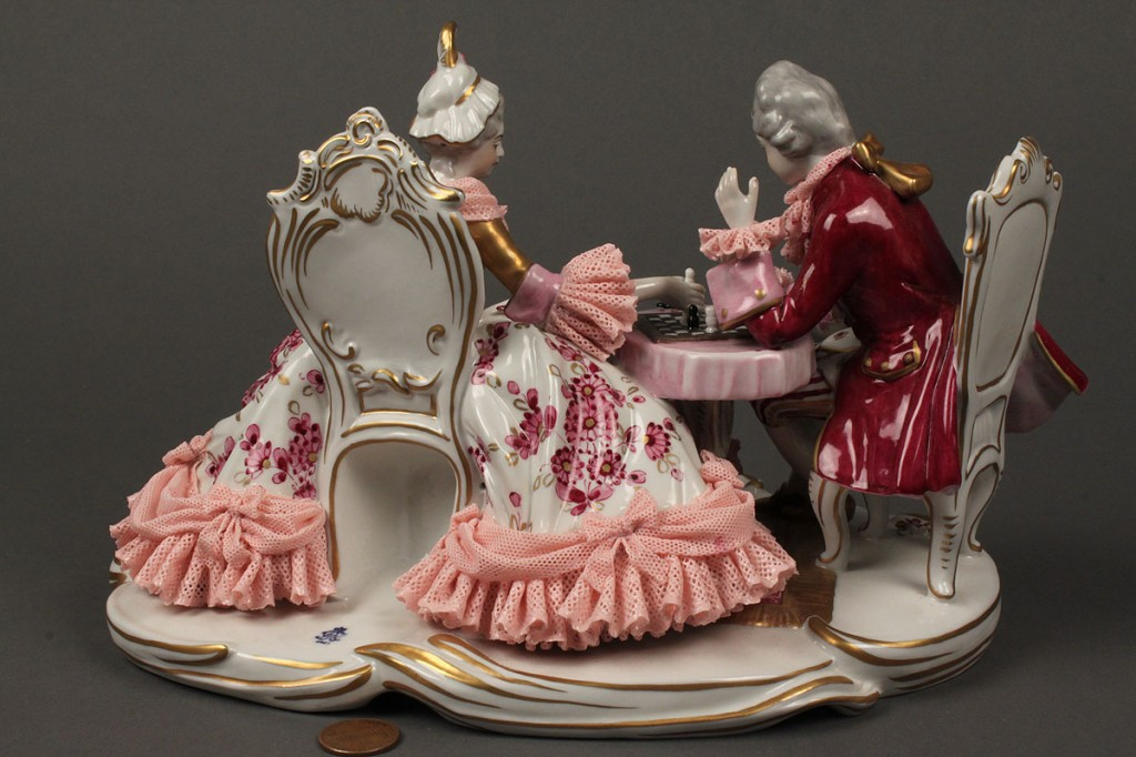 Lot 615: Dresden Porcelain Lace Figurine, chess game