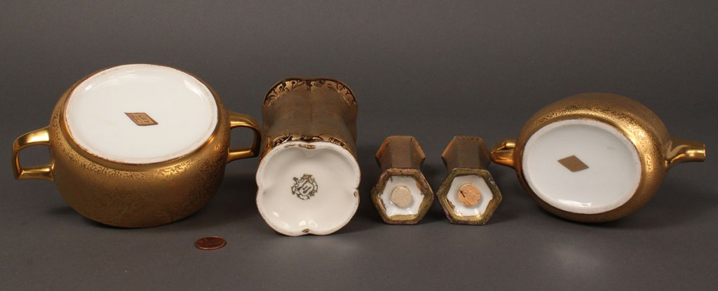 Lot 617: Grouping of Encrusted Gold Porcelain, 8 items