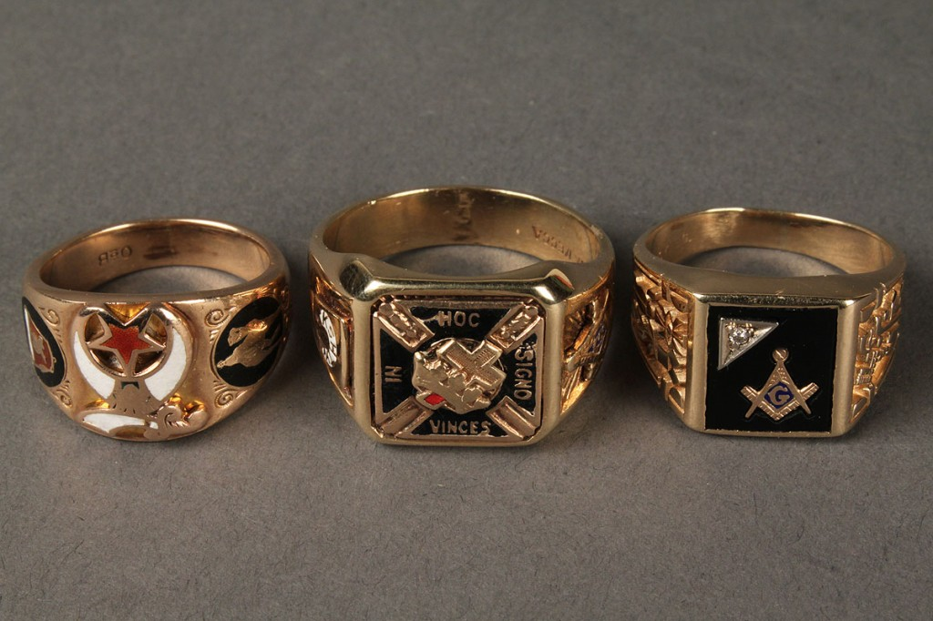 Lot 623: Lot of three 10K  Shriner's & Mason's rings