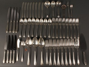 Lot 627: Towle Lady Diana Sterling Flatware, 48 pcs + 5