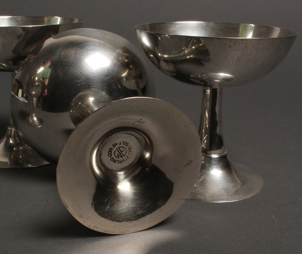 Lot 630: Set of 4 Mexican Sterling Dessert Compotes/Champagnes