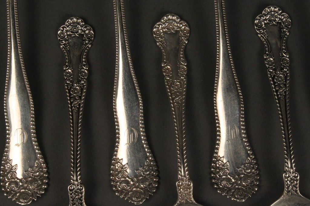 Lot 632: 12 Gorham sterling Spoons, Hope Brothers Retailers, TN