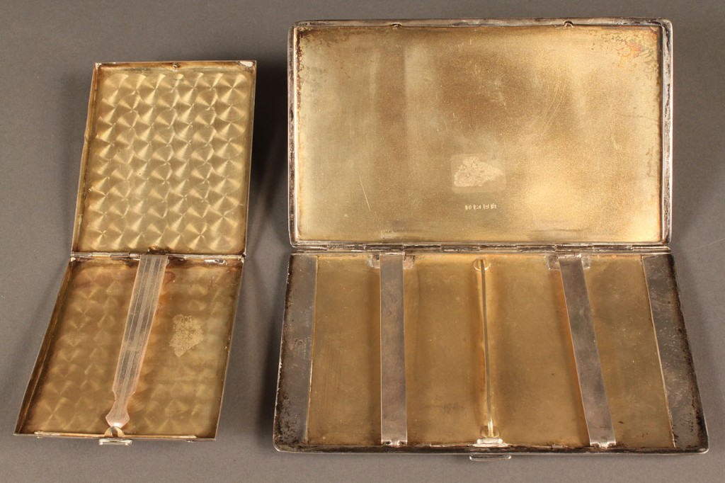 Lot 633: Lot of 2 Sterling Cigarette Cases, English and American