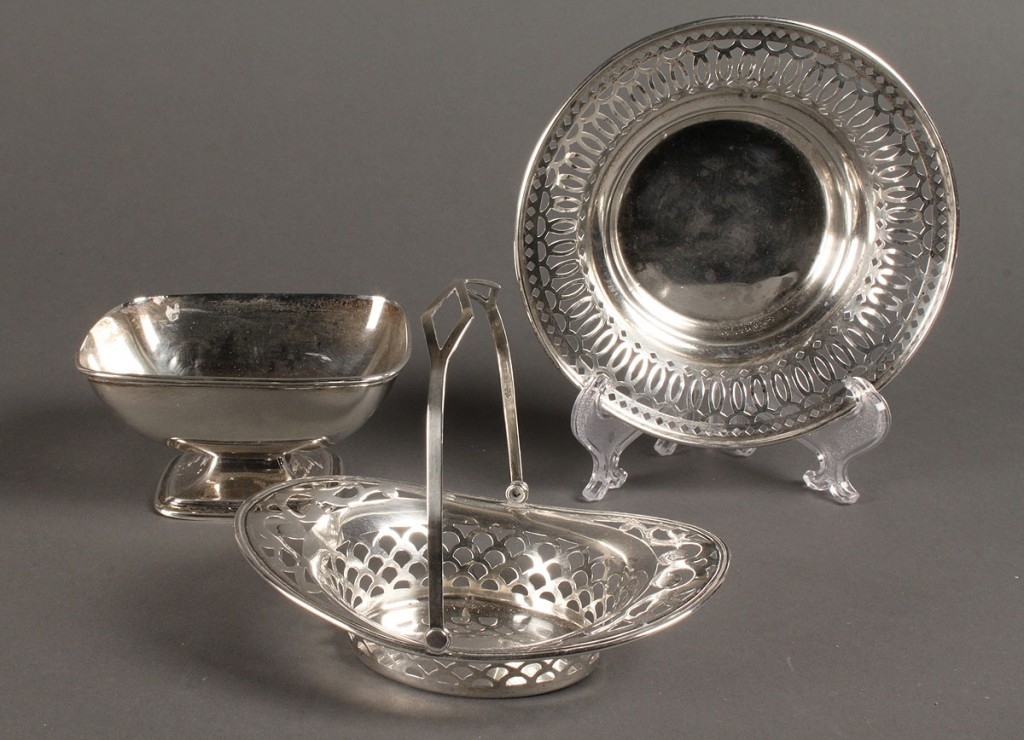 Lot 634: Lot of 13 sterling items: flatware & candy dishes