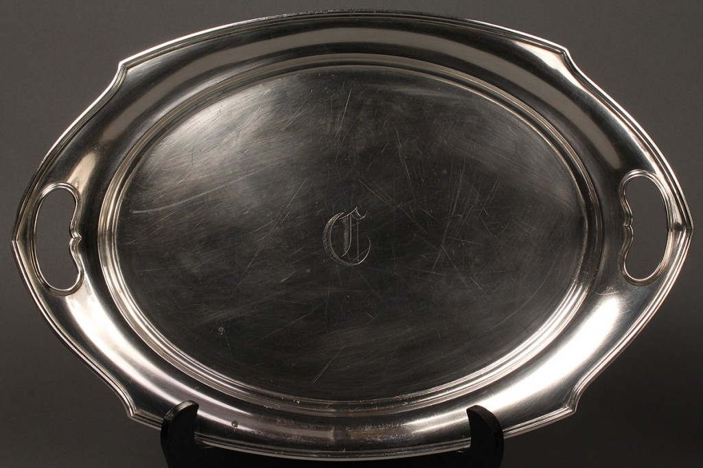 Lot 636:  Sterling Tray, hallmarked I.S. Co.