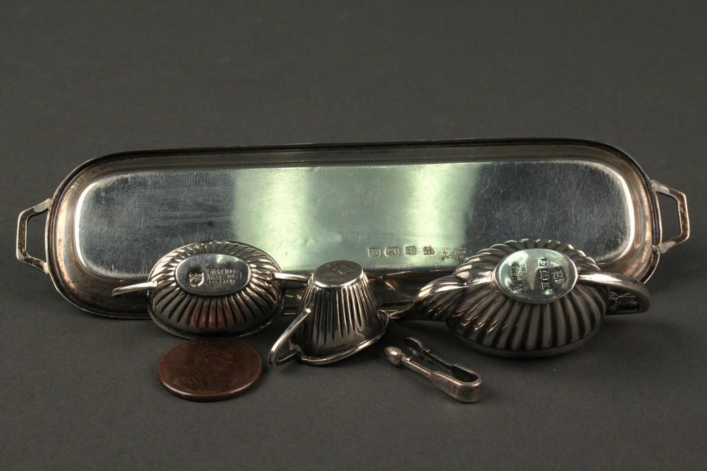 Lot 642: English sterling miniature tea set