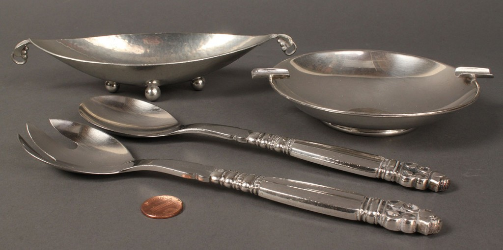 "Lot 643: 3 sterling items incl. Jensen ""Acorn"" servers, Reyes dish plus Rieg stainless"