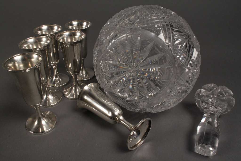 Lot 649: 6 Sterling Cordials & Cut Glass Decanter with sterling tag