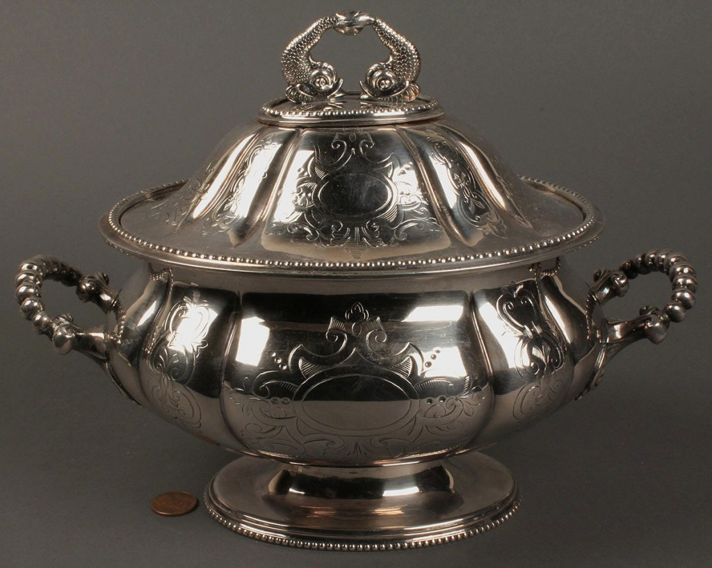 Lot 652: Classical Silverplated Tureen with Dolphin Finials