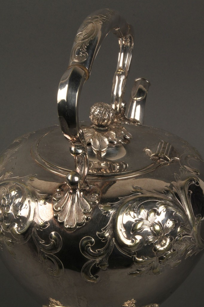 Lot 653: English Repousse Silverplate Tea Kettle