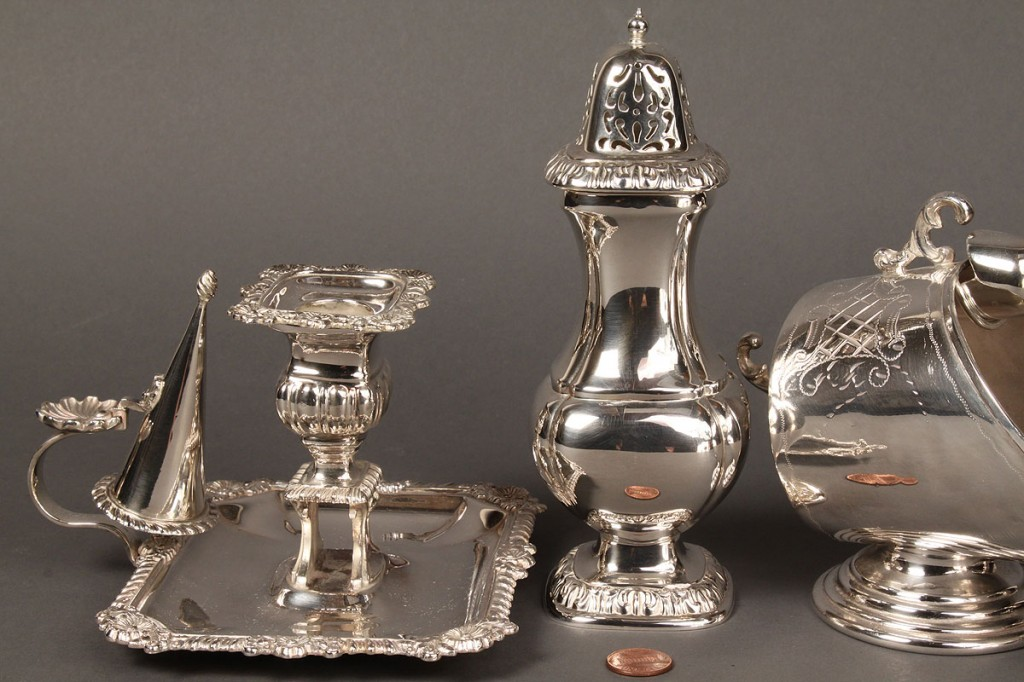 Lot 654: Lot of 4 silver plated table items