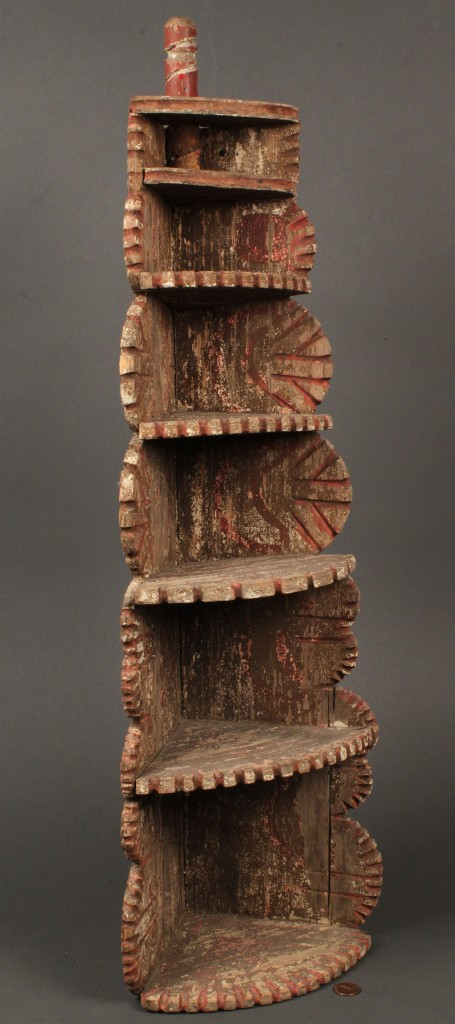 Lot 659: Southern Chipped Carved Painted shelf