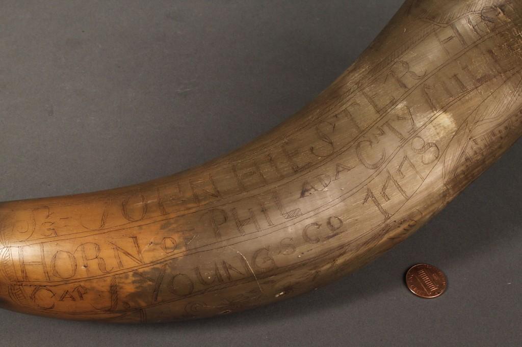 Lot 65: 18th Century Philadelphia Carved Powder Horn