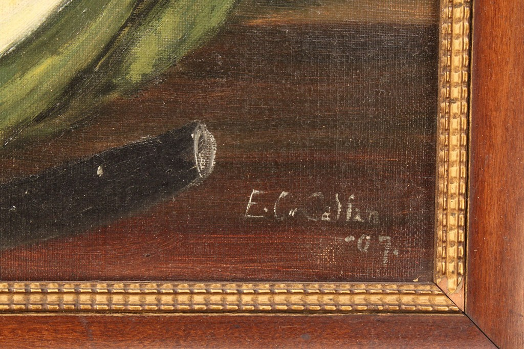 Lot 661: Folk Art Oil on Canvas, Watermelon Still Life