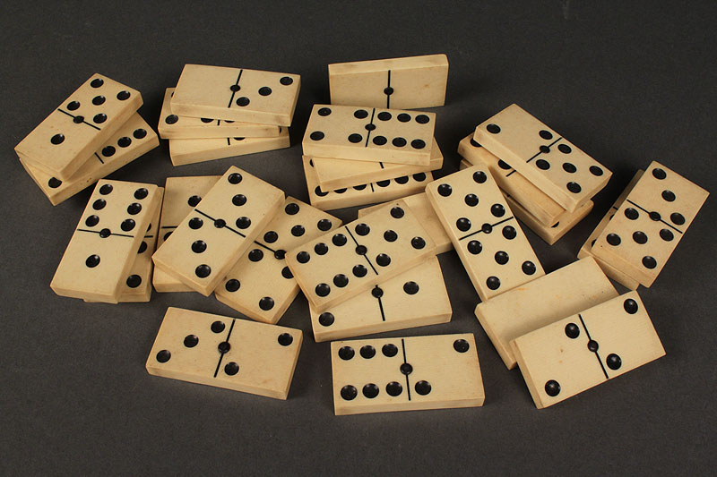 Lot 662:  Set of Ivory Dominos, Butterfly Collage & Inlaid Box