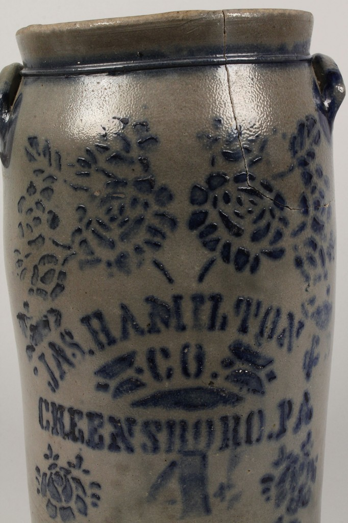Lot 664: JAS Hamilton & Co. Stoneware Pottery Crock
