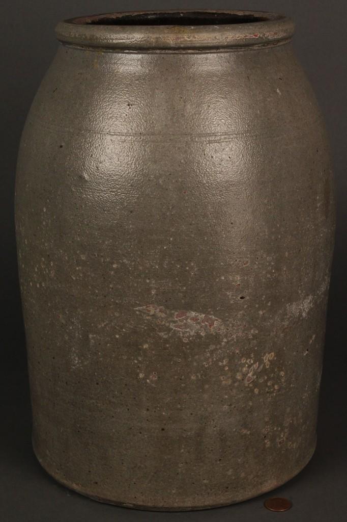 Lot 667: Stoneware Preserving Jar, cobalt decoration, poss. KY